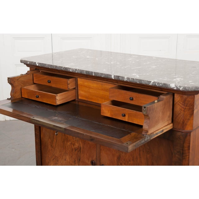 Wood French 19th Century Louis Philippe Walnut Drop-Front Desk For Sale - Image 7 of 12