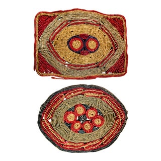 Boho Chic Straw Hot Pads - Set of 2 For Sale