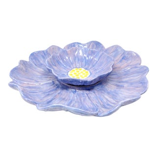Vintage Hand-Painted Purple Flower Serving Platter With Dip Bowl - Set of 2 For Sale