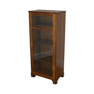 Antique Oak Narrow One Door Bookcase For Sale