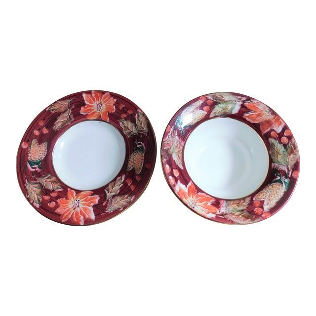 Fabulous Italian Poinsettia Punch Bowl & Platter - a Pair For Sale