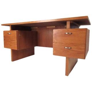Vintage Modern Rs Furniture Teak Floating Top Desk For Sale