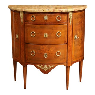 19th Century French Louis XVI Marble Top Bombe Demilune Marquetry Commode