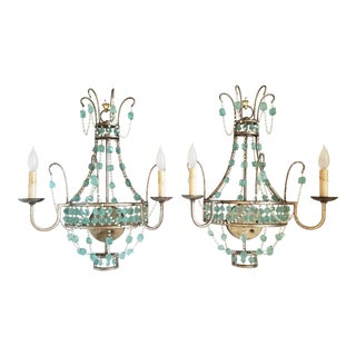 Arteriors Home Versailles Aqua Glass Wall Sconces-A Pair For Sale