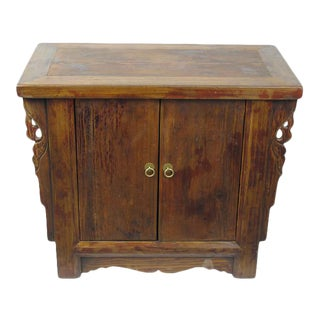 Asian Antique Pine Nightstand/Cabinet For Sale