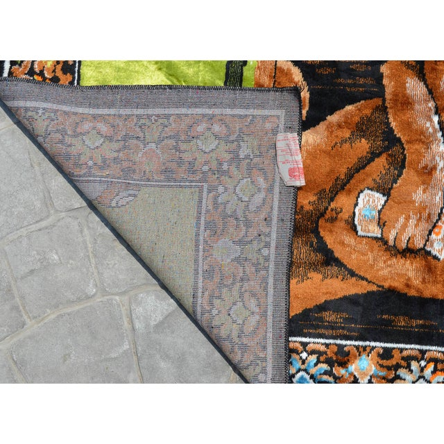 Green Vintage - Dogs Playing Pool - Wall Tapestry Wall Rug - 49ʺ X 70ʺ For Sale - Image 8 of 10