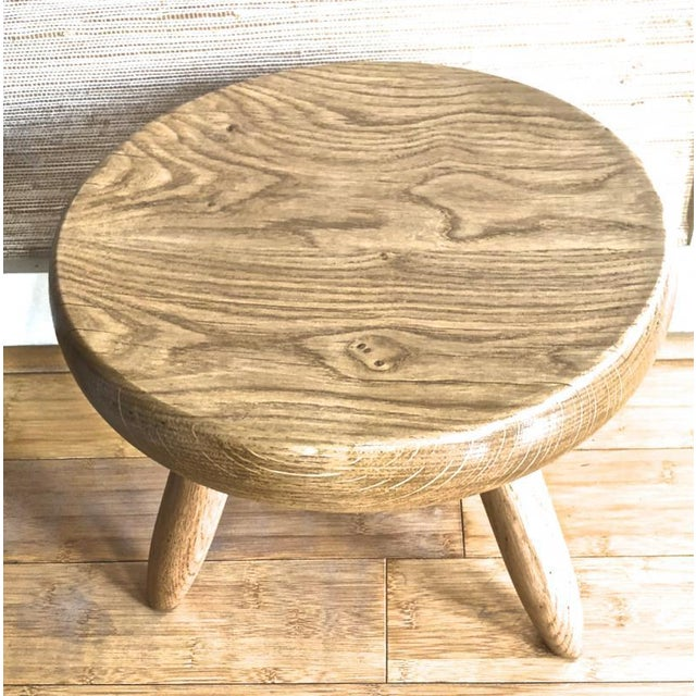 Mid-Century Modern Charlotte Perriand Genuine Vintage Ash Tree Tripod Low Stool For Sale - Image 3 of 7