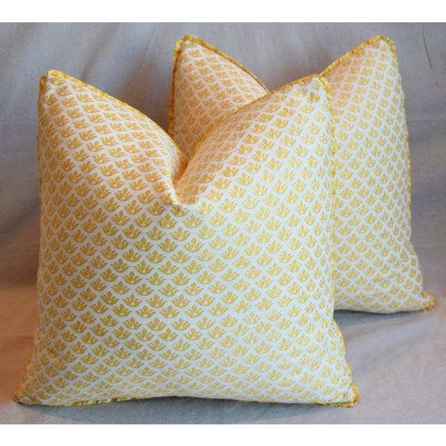 """Cotton Italian Mariano Fortuny Canestrelli Feather/Down Pillows 20"""" Square - Pair For Sale - Image 7 of 13"""