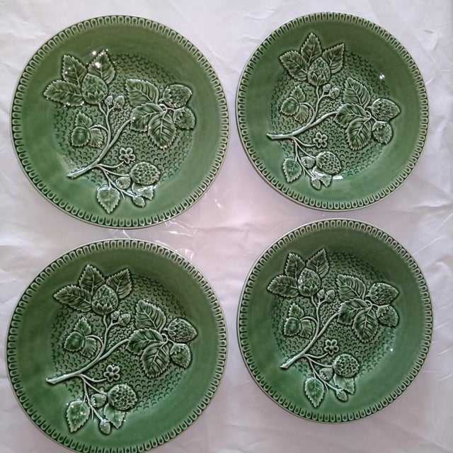 """Lovely green Portuguese accent plates. 8"""" diameter, great for wall hanging display or cabinet pieces."""