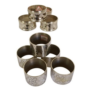 Two Sets of Aukey Silver Plated Napkin Rings