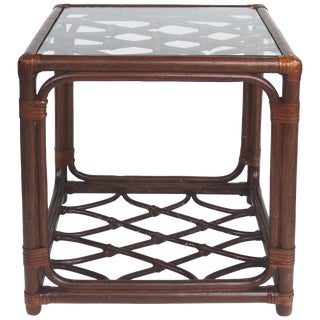 Rattan Criss Cross Design With Leather Strapping Attributed to McGuire For Sale