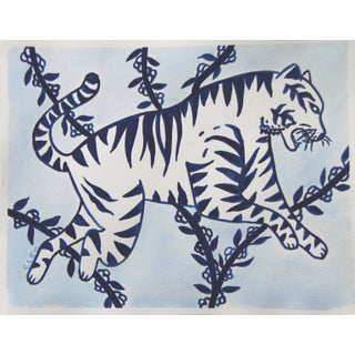 White Tiger in Blue by Cleo Plowden For Sale