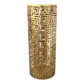 1990s Regency Greek Key Side Table With Brass Finish For Sale