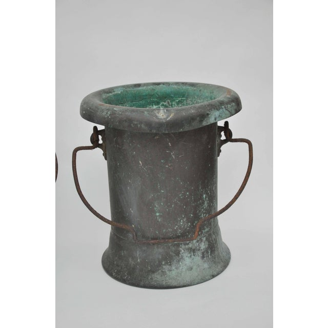 French 19th Century Pair of Verdigris Vessels From France For Sale - Image 3 of 11