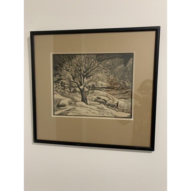 "Woodcut by Eloise Howard ""Opening the Road"" 1936 For Sale - Image 11 of 11"