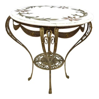 Italian Brass and Marble Round Table, Made in Italy