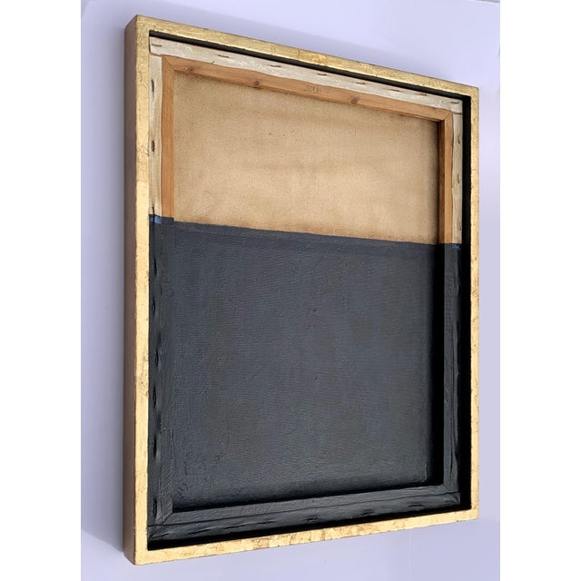 2010s Minimal Abstract Black and Tan Framed Painting For Sale - Image 5 of 11