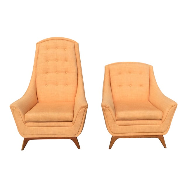Mid-Century Modern Adrian Pearsall His & Hers Lounge Chairs - A Pair - Image 1 of 5
