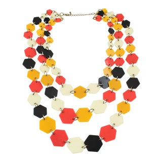 Artisan Designer Lucite Multi-Strand Necklace Orange Black Cream Losange For Sale