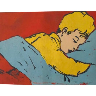 """1990s Pop Art """"Boy Sleeping"""" Screen Painting by David Bromley For Sale"""
