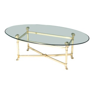 Hollywood Regency Brass Chrome Glass Coffee Table Rams Head After Jansen For Sale