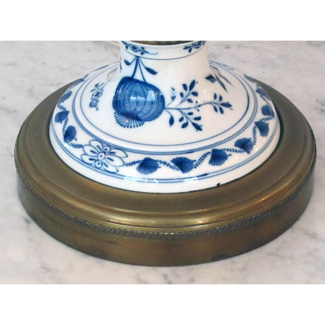 Meissen Blue Onion Pattern Oil Lamps by Whiteley's Dept. Store, London - a Pair For Sale In San Francisco - Image 6 of 10