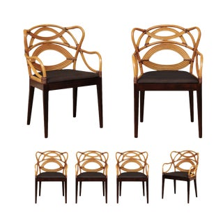Sculptural Scalloped Back Dining Chairs- Set of 6 For Sale