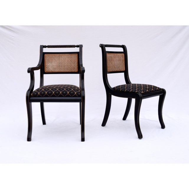 Metal Regency Double Caned Dining Chairs Made in Italy, Set of 8 For Sale - Image 7 of 13