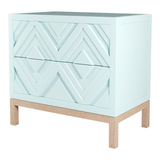 Susana Side Table - Ocean Air Blue, Natural Cerused Oak For Sale