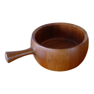 Mid-Century Modern Danish Teak Salad Bowl With Handle by Richard Nissen For Sale