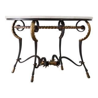 Poillerat Styled Black and Gold Limestone Table For Sale