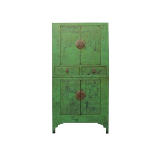 Chinese Vintage Distressed Green Lacquer Compound Stack Cabinet For Sale