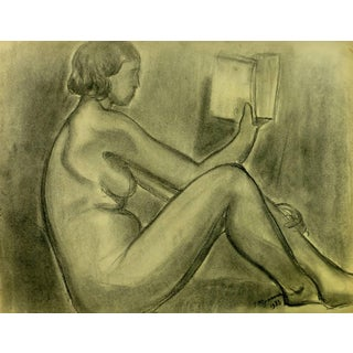 """A. Delamaire """"Nude Reading"""" Painting For Sale"""