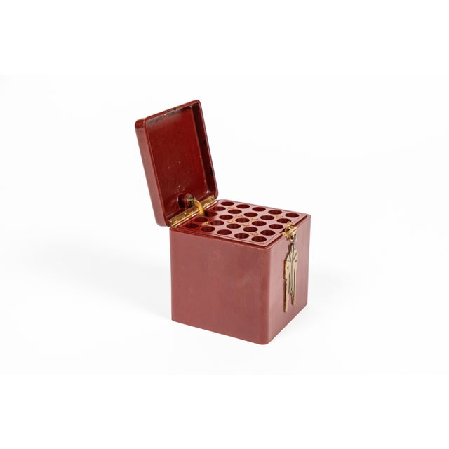 Metal Vintage Demley Art Deco Red Cigarette Box For Sale - Image 7 of 10