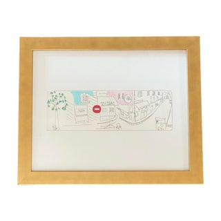 Late 20th Century Minimalist Paris Sketch Drawing, Framed For Sale