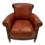 Image of French Art Deco Style Library Leather Club Chair With Nailhead Details For Sale