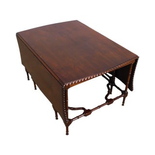 Chinese Chippendale Style Vintage Faux Bamboo Gateleg Drop Leaf Mahogany Coffee Table For Sale