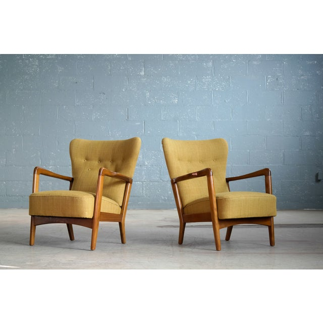 Fritz Hansen Danish Pair of Low Back Lounge Chairs With Open Armrests, 1940s For Sale - Image 13 of 13