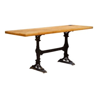 Butcher Shop Counter Top With Cast Iron Base Console C.1920-1950 For Sale