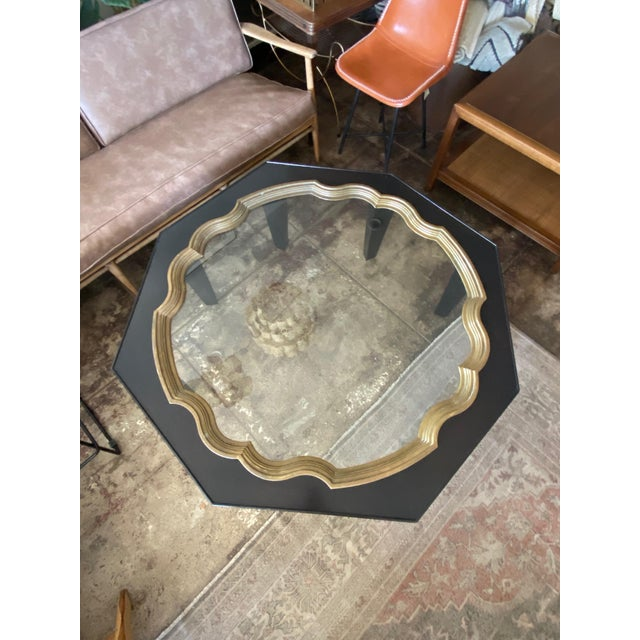Mid-Century Modern Mid Century Baker Ebony Octagonol Coffee Table With Glass Inset For Sale - Image 3 of 7
