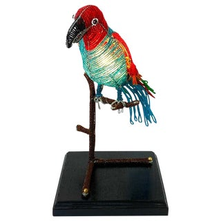 Colorful Art Deco Czechoslovakian Glass Beaded Parrot Lamp For Sale