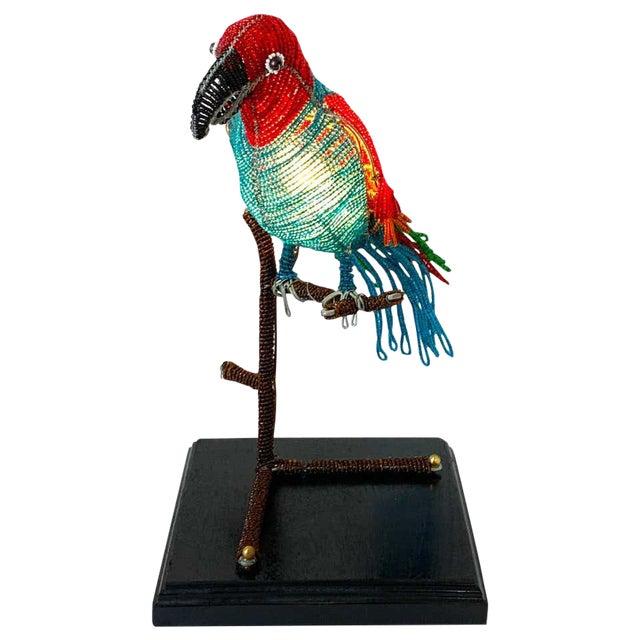 Colorful Art Deco Czechoslovakian Glass Beaded Parrot Lamp For Sale