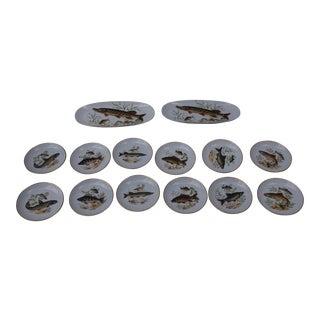 Mid-Century Naaman Israel Fish Platter & Plates - Set of 14