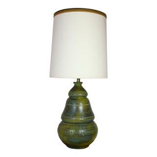 Bitossi Style Italian Green Ceramic Lamp