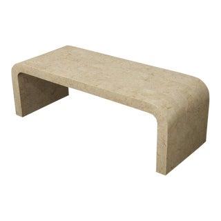 Tessellated Stone Veneer C-Shape Coffee Table For Sale