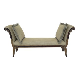 Modern French Louis XVI Style Upholstered Window Seat Bench For Sale