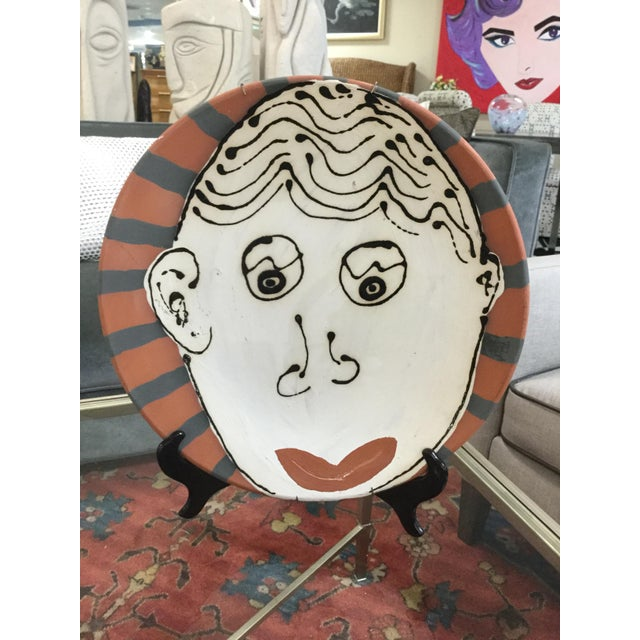 Black Vintage Abstract Face on Terra Cotta Pottery Platter For Sale - Image 8 of 8