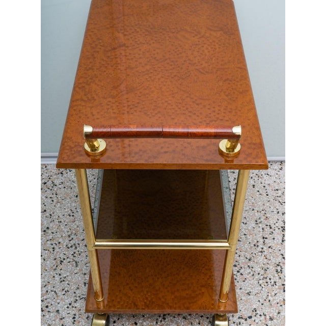 Hollywood Regency Karelian Birchwood and Gold Plate Bar Cart For Sale - Image 3 of 13