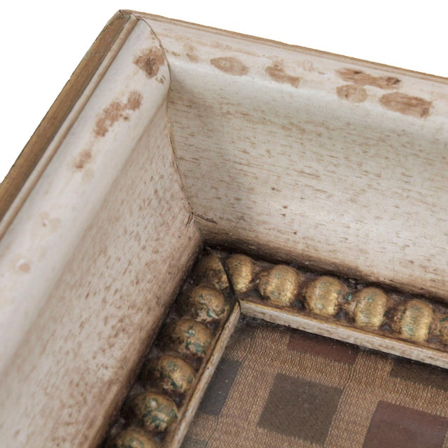 Woven vintage silk fabric from Italy is used under glass in this substantial serving tray constructed of intentionally...