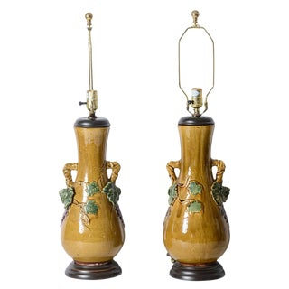 Italian Glazed Terra Cotta Grape Vines & Grape Urn Table Lamps, A-Pair For Sale